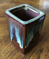 Vintage FOOTED DRIP GLAZE POTTERY VASE #24 glazed 4 in. Tall