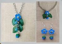 Forget-me-not charm jewellery set - Necklace, bracelet & earrings handmade Boho