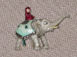 Vintage enamel circus elephant brooch