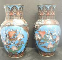 Pair of Antique Vintage Exceptional Chinese Cloisonne Vases With Bird Panels