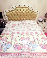 Hello Kitty Elegant Lovely QUEEN SIZE DOUBLE BED SHEET 4PC Cotton Bedding SET
