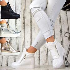 LuXus Designer Wedges Sneaker Keilabsatz Damen Schuhe Weiß Schwarz Silber Gold