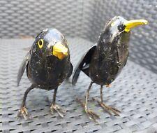 Pair of Blackbirds Metal Garden Bird Sculpture Ornament Recycled Upcycled