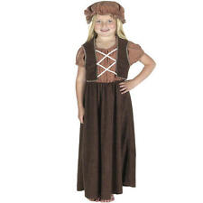 Kids Childs Brown Little Nell Fancy Dress Outfit Victorian Oliver Costume 128Cm