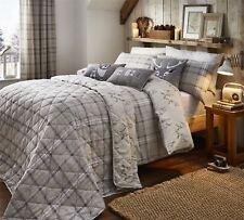 Highland carreaux cerf gris beige coton brossé Housse de couette double