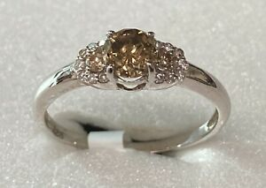 0.56Ct Sparky Champagne & White Natural Diamond Ring Sterling Silver nxs022