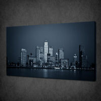 BLUE NIGHT SKYLINE OVER CANARY WHARF LONDON BOX CANVAS PRINT WALL ART PICTURE