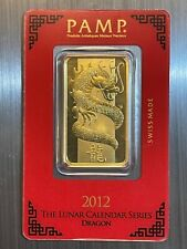 1 oz Gold Bar - Pamp Year Of The Dragon 2012 - Suisse Gold Bar In Assay
