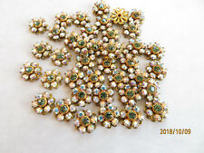 J099 - 24 Swarovski 11mm Crystal AB & Erinite Rhinestone Flower Components