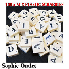 100 x Plastic Scrabble Tiles Letters Numbers Crafts Alphabet Scrabbles IVORY
