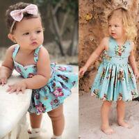 Newborn Infant Baby Girls Backless Sleeveless Print Romper Dress Sundress