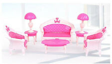 Free shipping 7Pcs Toys Barbie Doll Sofa Chair Couch Desk Lamp Furniture Set r98