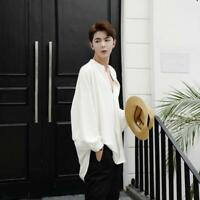 Mens Chic Loose Shirt Punk Puff Sleeve Loose Fit Oversize Casual Retro Tops