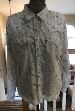 Levi's Button Up Blouse Striped Country Western Paisley Women's Sz L