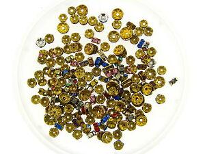 Vintage Swar Crystal Jewelry Repair Brass Rondell Spacer Beads Findings