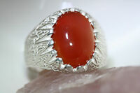 New 10 CT Carnelian Agate Oval Cab Islamic Men's RING 925 Sterling Silver SZ 9.5