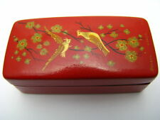 RUSSIAN HANDCRAFTED PAPER MACHE LACQUER BOX NEEDLE CASE PILL BOX ca1970 Rare!