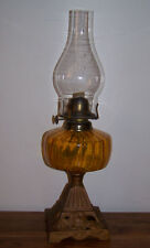 Antique Oil Lamp Amber Glass