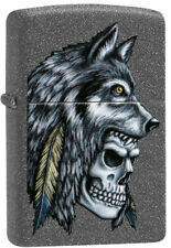"Zippo Lighter ""Wolf Skull Feather Design "" No 29863 - New on Ironstone Finish"
