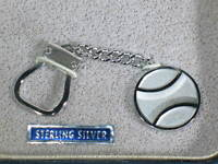 Vintage Sterling 925 Keychain w/Baseball FOB 12g in Original Case