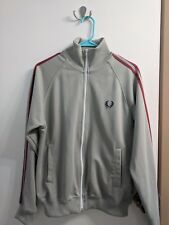 MENS SMALL Fred Perry Track Jacket Full Zip Grey Red Preppy Athletic