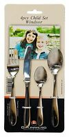 4 Piece Kids / Childrens Cutlery Set - Windsor 18/10 stainless steel