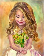 "Original art ""Flowers"" by Qi Debrah,Children,Watercolor,Realism,11.25""x14"",US"