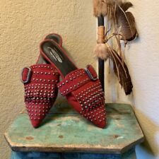 Jeffrey Campbell x Free People Women's Sz 6 M Red Wanderer Studded Pointed Mules