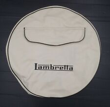 "Spare wheel cover 10"" cream with zip pocket & Lambretta logo"