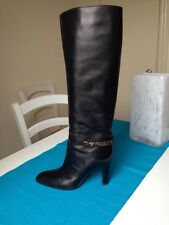 Sergio Rossi Black leather knee high boots  £835