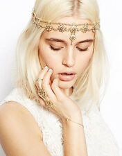 Bohemian Gold Pearl Hair Head Chain Boho Headpiece Headband Hippie Festival