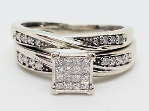 10k White Gold 16 Princess Cut 16 Round Diamond .50 Ct Wedding Set Size 6 Ring
