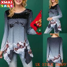 UK Womens Christmas Xmas Shirt Blouse Ladies Long Sleeve Casual  Irregular Tops