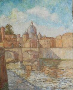 """Oil on Canvas """"Scene in Venice"""" by Hildegard Hamilton (American 1898-1970) Venic"""
