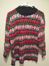 Vintage Ugly Christmas Sweater Tacky - Large L Red Croquet Horizontal Holidays!
