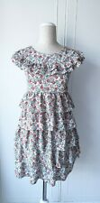 TOPSHOP Retro Style Floral Frill Dress Boho Vintage Chic! Ditsy Flower Size 12