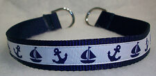 Custom Made Nautical Dog Collar Anchors and Sail Boats 17""