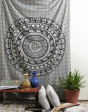 Boho Mandala Indian Tapestry Black & White Wall Hanging Large Cotton Bed sheet