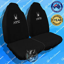 GENUINE BLACK XDC SPIDER CAR SEAT COVERS, SLIP ON THROW OVER STYLE, FRONT PAIR!