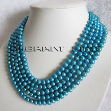 """100"""" 6-8mm Deep Sky Blue Freshwater Pearl Necklace Strand Jewelry UK"""