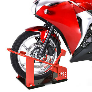 Motorcycle Wheel Chock Transport Stand Metal Holder For Truck And Trailer