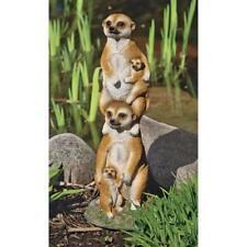 Kalahari Desert Meerkat Family Totem Garden Sculpture Outdoor Statue