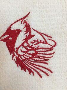 Embroidered Kitchen Bar Hand Towel - RED CARDINAL BIRD   BS 1095