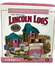 Wooden Lincoln Log building set Little Prairie Farmhouse 101 logs Incomplete #38