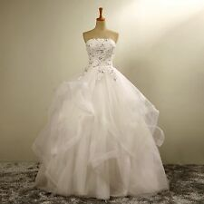 new white /ivory ball gown lace wedding l dress custom size2 4 6 8 10 12 14 16