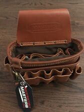 New 12 in. 5-Pocket Heavy Duty Leather Electrician's Hand Tool Bag Pouch, Brown