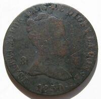 ISABEL II . 8 MARAVEDIS DE 1850 , JUBIA