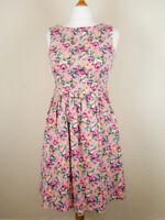 LINDY BOP Pink Belted Sleeveless Dress UK14 Floral Print Fit & Flare Rockabilly