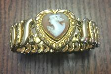 Vintage Leading Lady USA Gold Fill Expandable Shell Heart Cameo Lady Bracelet