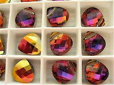 2 Crystal Volcano Swarovski Crystals Pendants Briolette 6012 11mm
